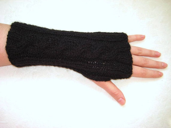 Black Gloves, Armwarmers - Fingerless, Cable Knitting - Gift for Her, for Him - Men - Fashion - Ready to Ship