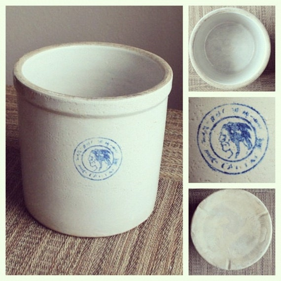 Antique Early 1900s Stoneware Crock with Blue Indianhead Marking - Louisville Pottery Co. -  1 Gallon