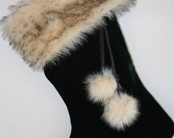 Emerald Green Christmas Stocking with Faux Fur Cuff