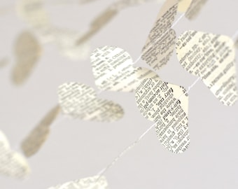 Vintage Book Hearts Garland - streamers made from vintage dictionaries and novels