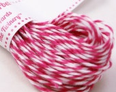 Bakers Twine - BRIGHT & BOLD Dark Pink Sorbet and White String for crafting, gift wrapping, packaging, invitations - 15 yards