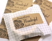 Shop Exclusive - SOMETHING WONDERFUL Awaits Inside with corner doily Kraft stickers- package labels, wedding favor labels, stickers