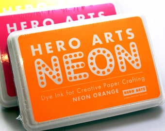 Hero Arts NEON ORANGE Ink pad for paper projects and scrapbooking