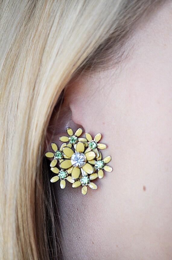 Weiss Yellow Enamel Flower Earrings