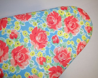 Ironing Board Cover in Peach Yellow and Green Floral on a Blue Background Standard size.