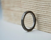 Industrial Sterling Silver Ring Simple Oxidized And Brush Finished Band Minimalist Ready To Ship Black Friday Sale