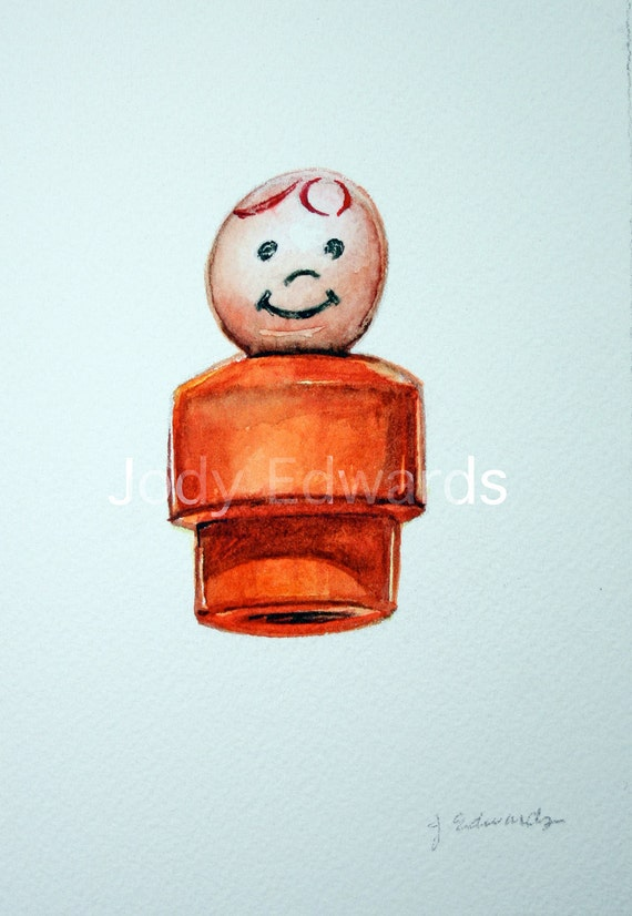 Retro Fisher Price Little People Boy (Orange) - Childhood Treasures series study