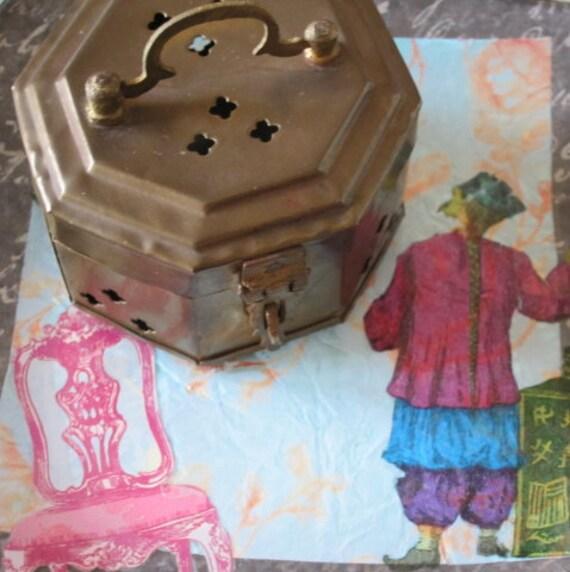 Vintage Brass Cricket Box Brass Trinket Box Wedding Ring Bearer's Box Wedding Ring Box
