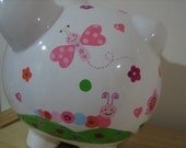 Personalized Large Piggy Bank Butterfly, caterpillar- flower girl ,birthday, christenings, communions, Baby Shower Gift