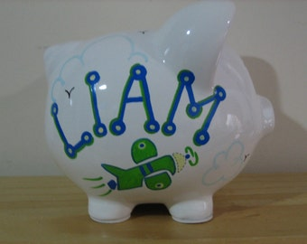 Personalized Large Plane Piggy  Bank  -Newborns , Boys , Girls , Ring bearer,Christams,Baby Shower Gift Centerpiece