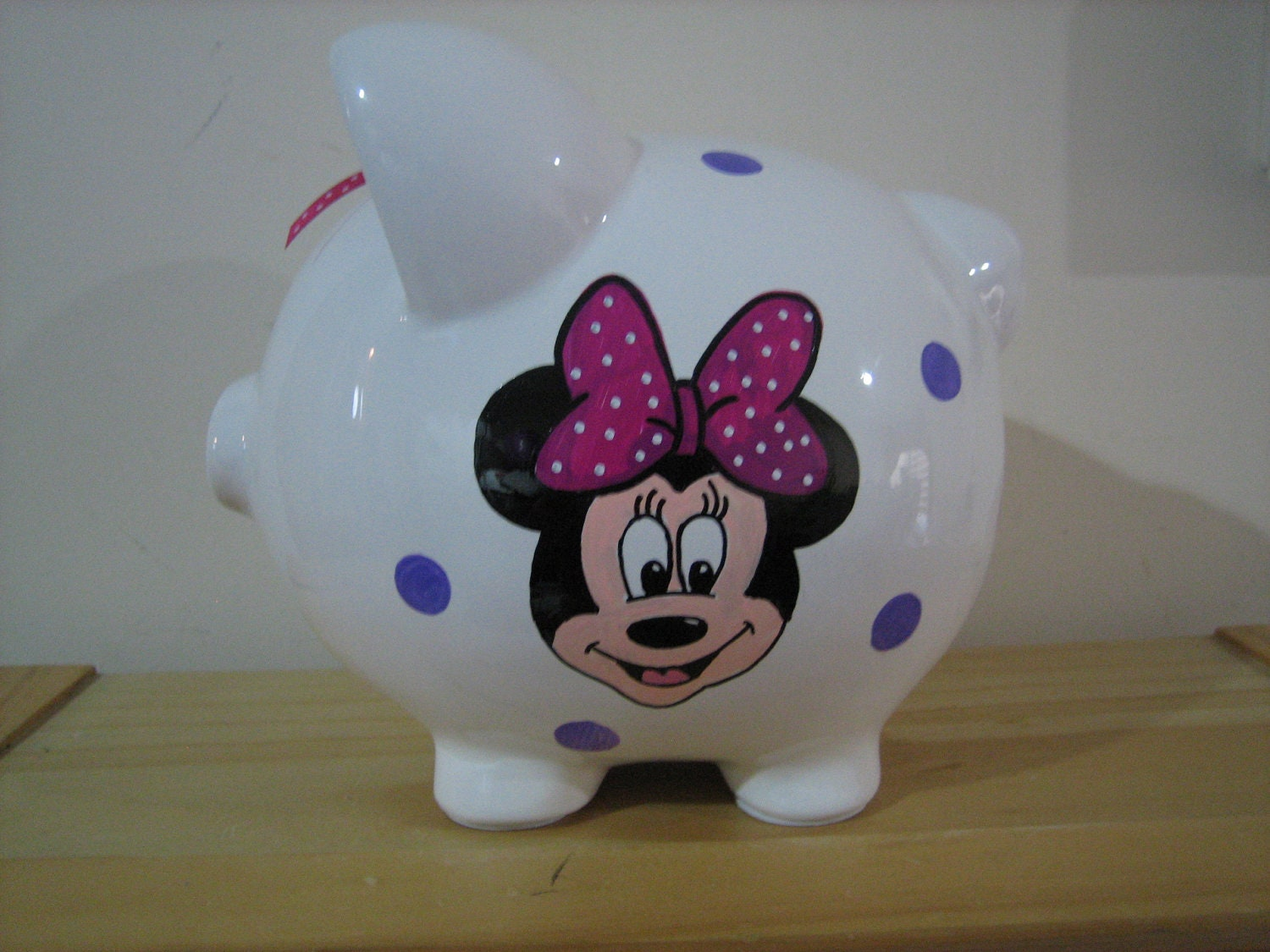 Personalized Jumbo Piggy Bank Disney Minnie Mouse Mickey