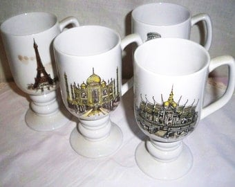 Kayson's Continental Mugs - Vintage Pedestal Coffee Cups
