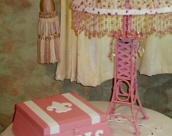 PARIS PINK Fleur de Lis Wooden Trinket/Jewelry/Keepsake/Treasure Box by ValsUnique