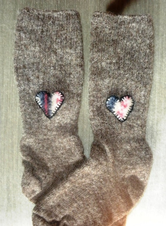 womens wool sock with heart applique