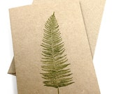 Fern Note Cards - Woodland - Blank Stationery - Hand Stamped Gift Cards - Recycled Brown Kraft Card Stock