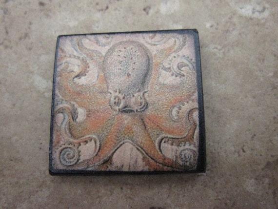 Octopus Pendant Ephemera Tile 1X1 inch custom drilled