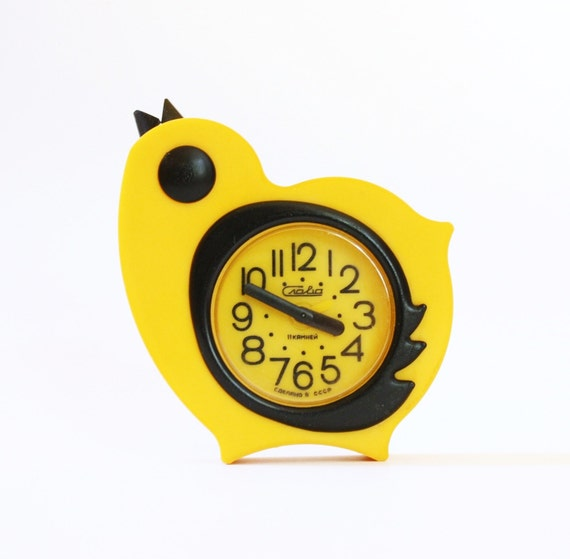 Vintage Russian mechanical alarm clock Slava from Soviet Union period yellow chicken easter