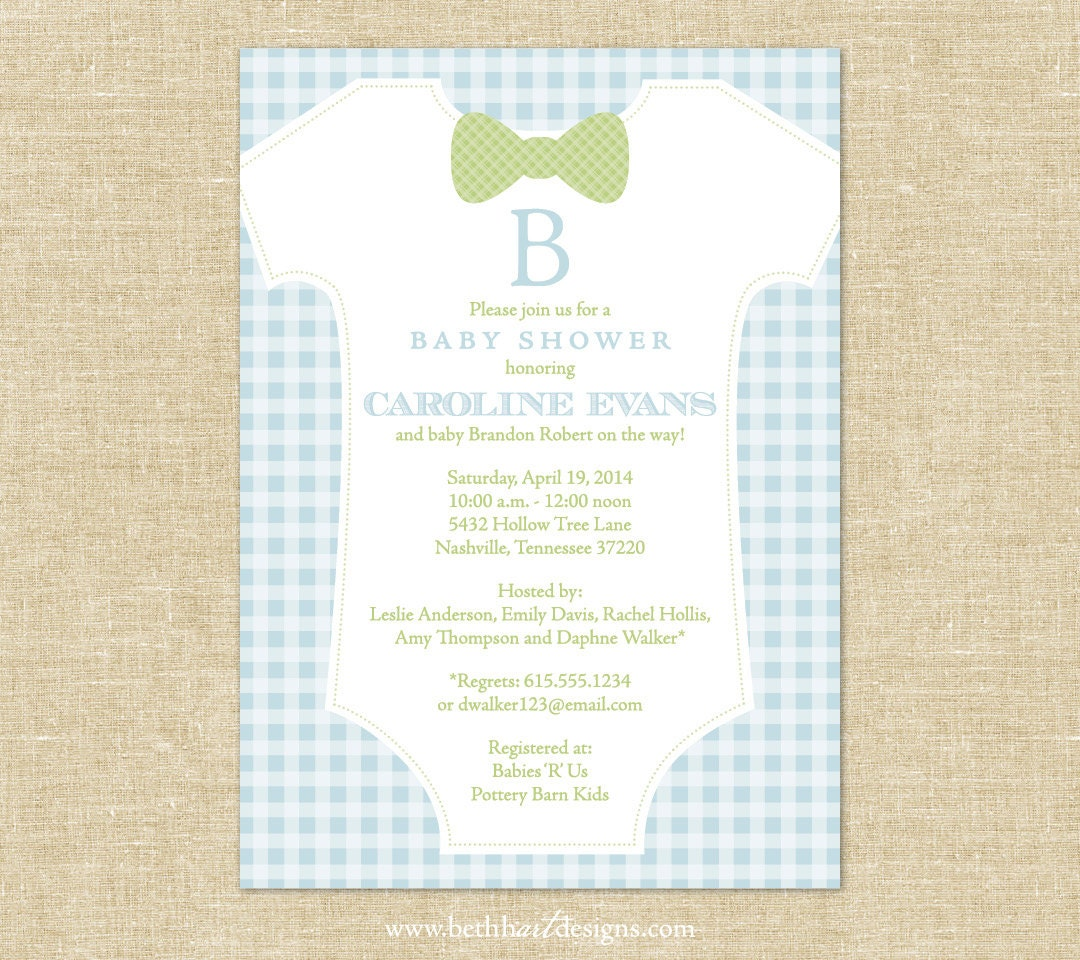 Items Similar To Gingham Bow Tie Baby Shower Invitation On