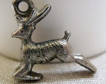 Vintage Tiny Reindeer Christmas Charm for Bracelet, Necklace or Zipper Pull, Cast Silvertone Metal Deer
