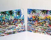 COLORFUL Contemporary ABSTRACT Expressionist  Tropical PAINTINGS 2 canvas panels