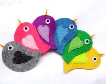 felt appliques,  felt animals, felt birds, fabric appliques