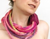 RESERVED - Scarf necklace loop scarf infinity scarf women neck wrap knit necklace skinny scarf fall autumn magenta multicolor