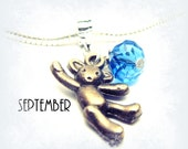 SEPTEMBER Birthstone - Vintage Teddy Bear and Sapphire Blue Crystal Charm Dangle fits most European Charm Jewelry
