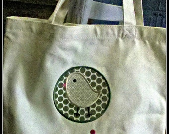 Appliqued / monogrammed / personalized natural colored tote bag / bird applique plus name