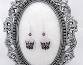 Purple Decepticon symbol earrings