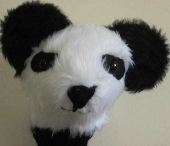 Golfers Novelty Gift-Plush Golf Club Head Cover-Panda Bear Head-Black and White-Plush Fabric-Black Double Knit Handle Shield-Fun Present