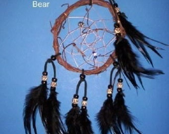 Native American inspired Dream Catcher - 416, Chicken Feathers, Glass/Bone Beads, Bear, Grapevine