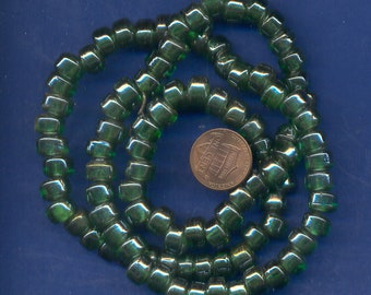 24 Inch strand of Glass Crow Beads, Green, Large Hole