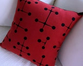 "Eames Red Large Dot Pillow Cover - For Use with 14"" x 14"" insert - Mid Century Modern Pillow Cover - Maharam"