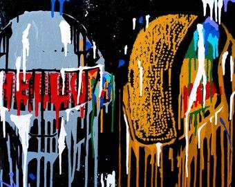 Daft Punk Portrait - 'Daft Drip' - ORIGINAL Acrylic Painting
