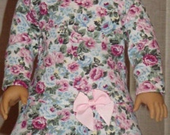 Floral Print Knit Flounce Dress For American Girl Or Similar 18-Inch Dolls