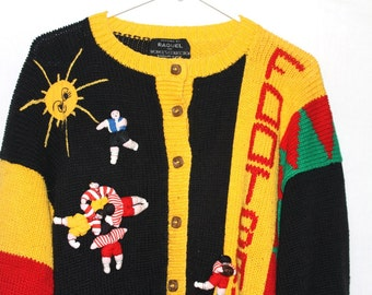 Kindergarten Creepy Kooky 1980s Football Cardigan Sweater