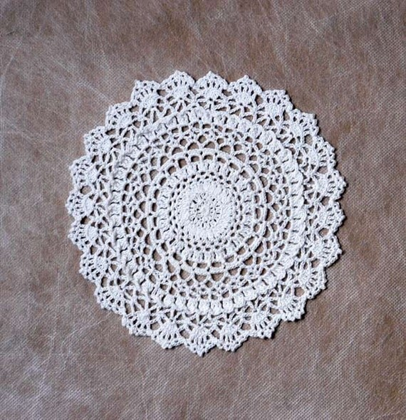 Dreamy White Lace Crochet Doily, New Home Decor, Handmade, Original Design by NutmegCottage