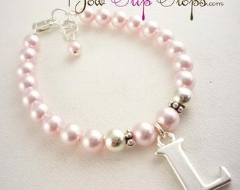 Flower Girl Bracelet- Rosaline pink swarovski pearl & initial charm- choose colors