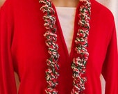 Crochet Curly Q Scarf Jingle Bell Scarf Christmas Scarf Christmas Accessory Holiday Scarf Gift Exchange