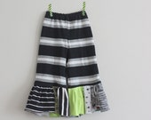 CLEARANCE Giant Ruffle Pants 2T Black and White Stripe Wide Leg Pant with Oversize Scrap Ruffles Upcycle OOAK