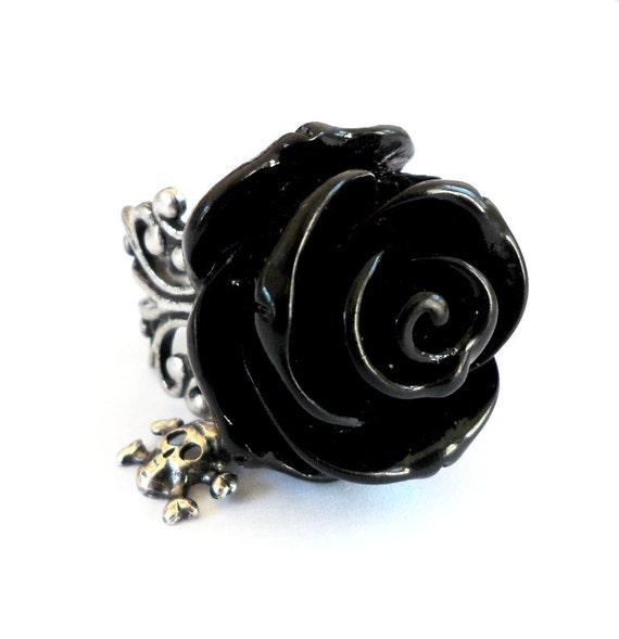 Goth Black Rose Skull Ring- Antique Silver Adjustable Ring- Skull Candy Black- Large Rose