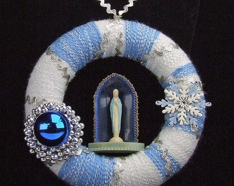 """Upcycled Christmas ATCTTEAM Wool 8"""" Wreath Vintage Blessed Virgin Mary Shrine Blue White SIlver Ric Rac Snowflake Wool Yarn Wrapped"""