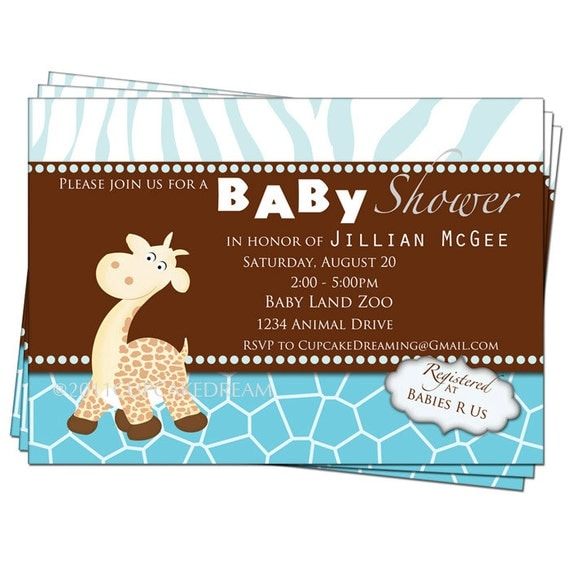 giraffe baby shower invitation boy baby shower by cupcakedream, Baby shower
