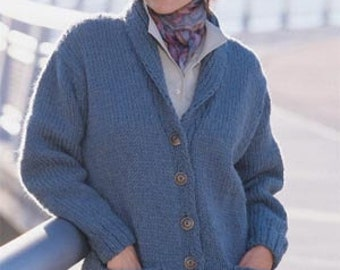Hand Knitted Womens Shawl Collar Cardigan