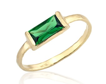 emerald ring 14k gold band emerald cz stone emerald birthstone ring emerald jewelry - Emerald Wedding Ring