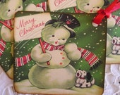 Merry Christmas Snowman and his caroling Dog - Vintage Gift Tags