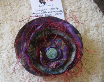 Upcycled Hair Clip Green Purple Red