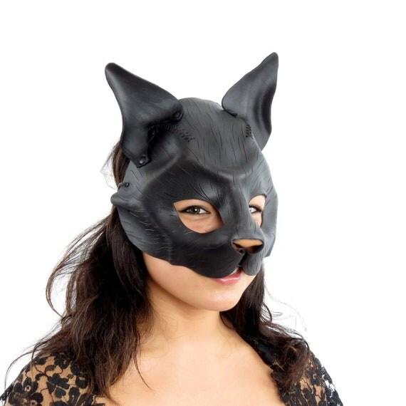 Black Cat - Handmade Leather Mask