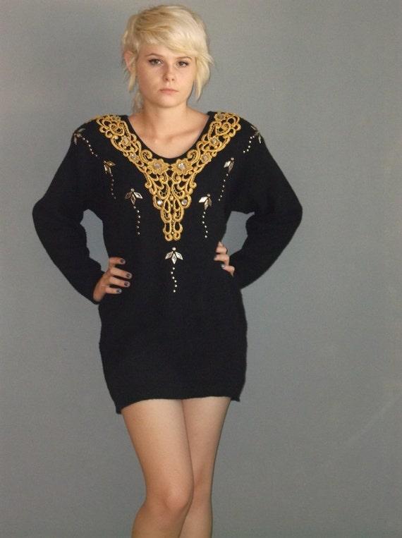 80s vintage black sweater mini dress / gold lace / studs / bedazzler / s sm m