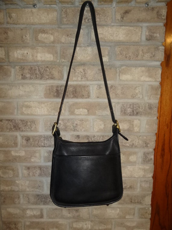 Vintage Coach Black Leather Long Shoulder Strap Handbag Purse